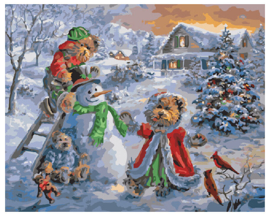 Картина по номерам GX 7422 Снеговик с игрушками 40*50