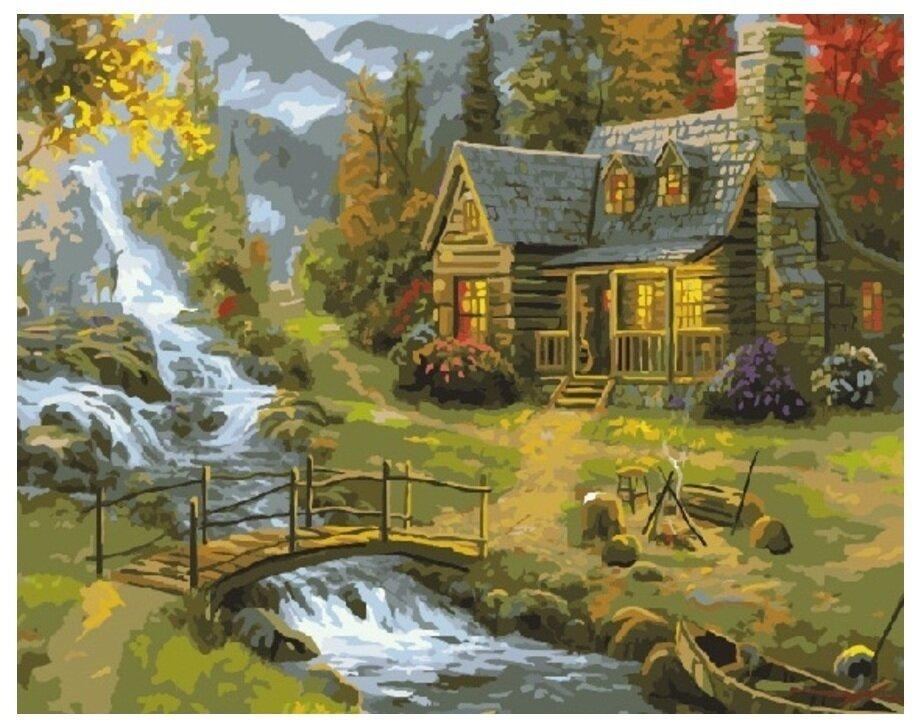 Картина по номерам GX 7793 Домик у речки 40*50