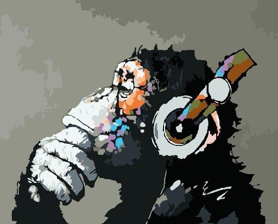 Картина по номерам GX 8009 Шимпанзе-меломан 40*50