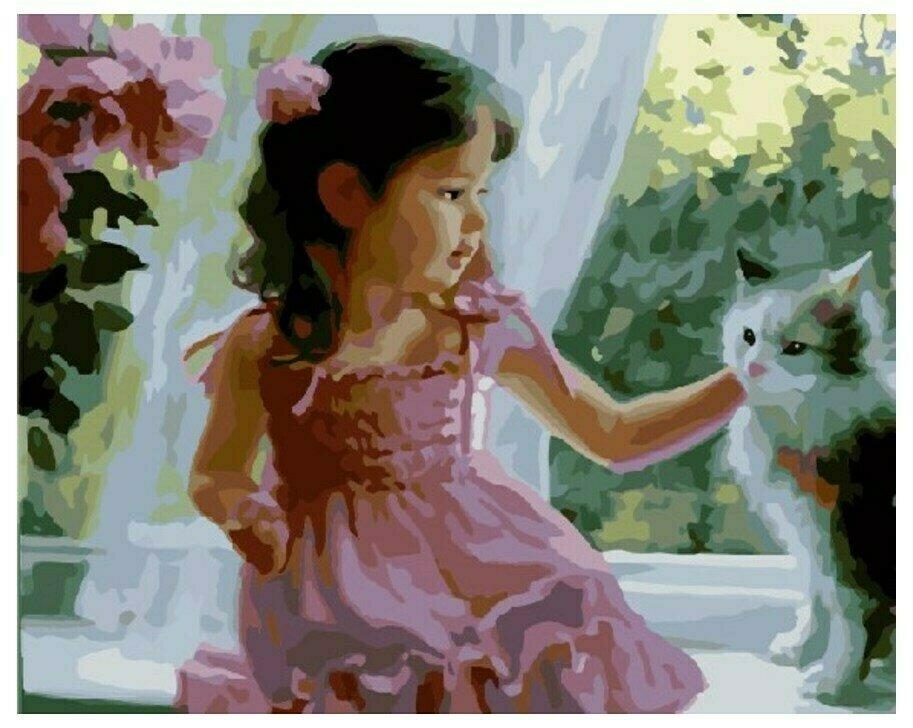 Картина по номерам GX 8134(GX 8170) Девочка с кошкой 40*50