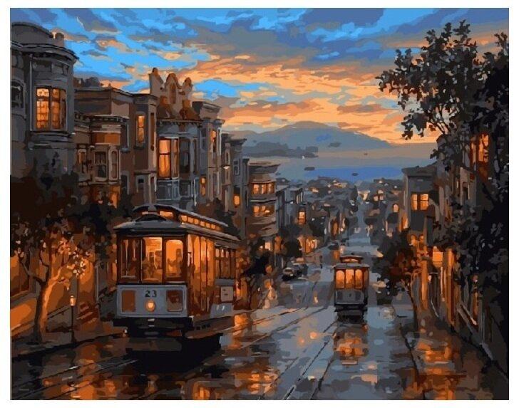 Картина по номерам GX 8322 Ночной трамвай 40*50