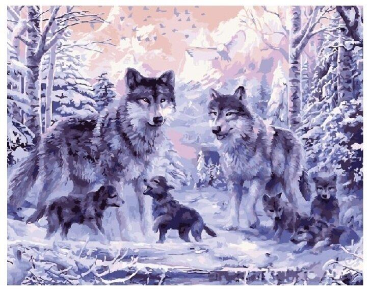 Картина по номерам GX 8366 Волки с волчатами 40*50