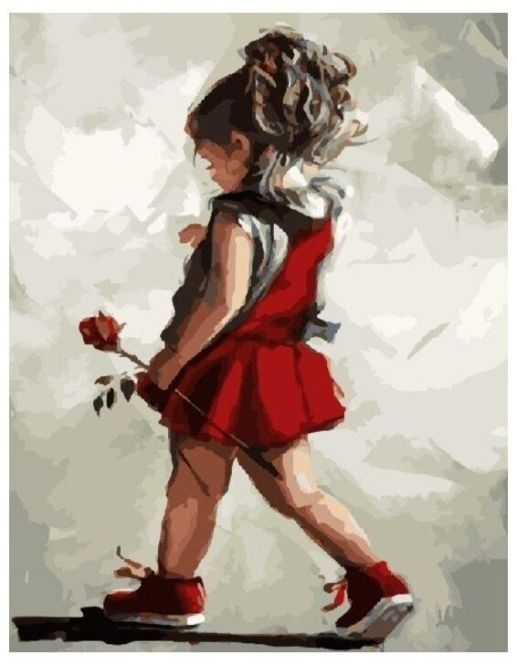 Картина по номерам GX 8381 Малышка с розой 40*50