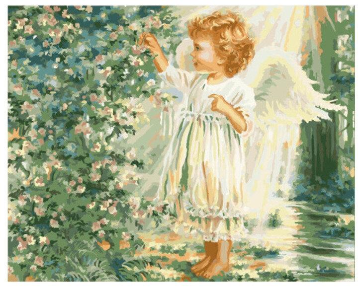 Картина по номерамGX 8702 Ангелочек в летнем саду 40x50 см