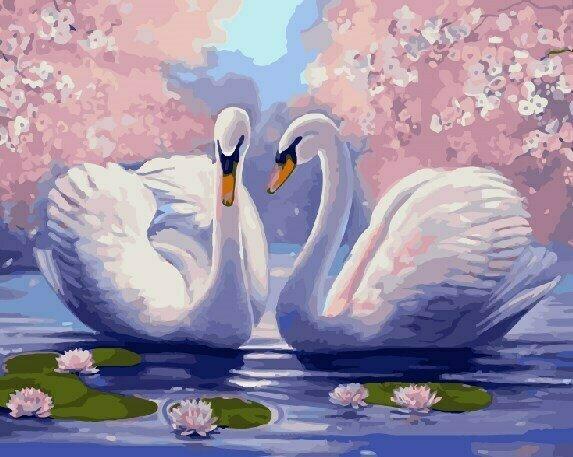 Картина по номерам GX9009 Лебединая нежность 40х50см