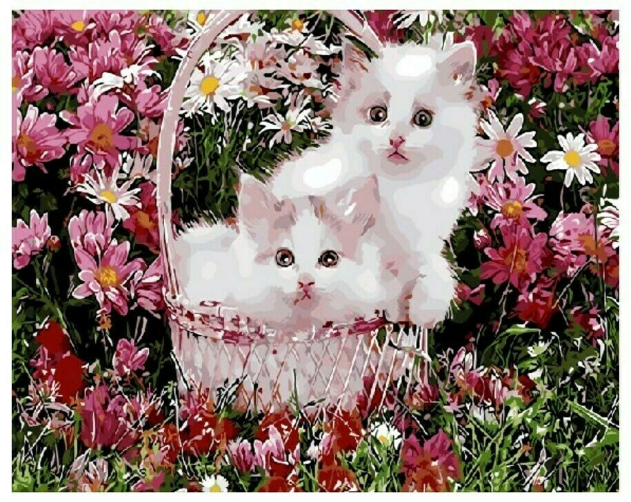 Картина по номерам GX 9160 Два котенка в корзинке 40*50