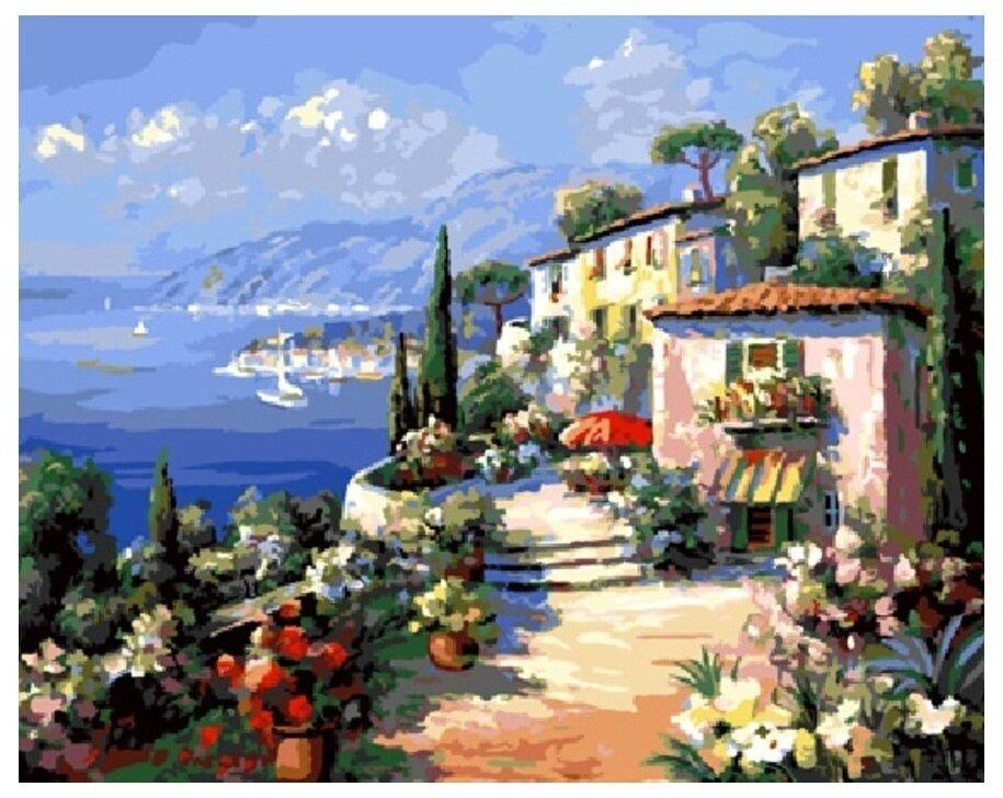 Картина по номерам GX 9170 Дома над заливом 40*50