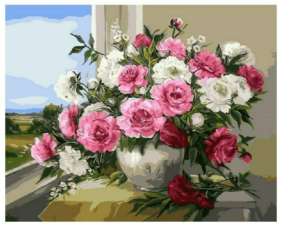 Картина по номерам GX 9418 Пионы у окна 40*50