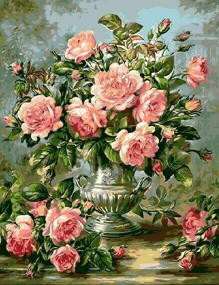 Картина по номерам GX9447 Античная ваза с розами (Худ. Альберт Вильямс) 40х50см