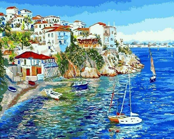 Картина по номерам GX9627 Белые домики Греции 40х50см