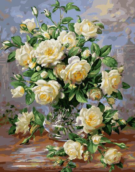 "Картина по номерам Paintboy GX7547 ""Белые розы"" 40х50см"
