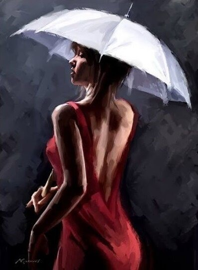 "Картина по номерам Paintboy GX8041 ""Девушка под зонтом"" 40х50см"