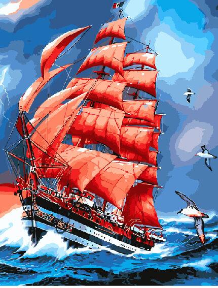 "Картина по номерам Paintboy GX8794 ""Алые паруса"" 40х50см"