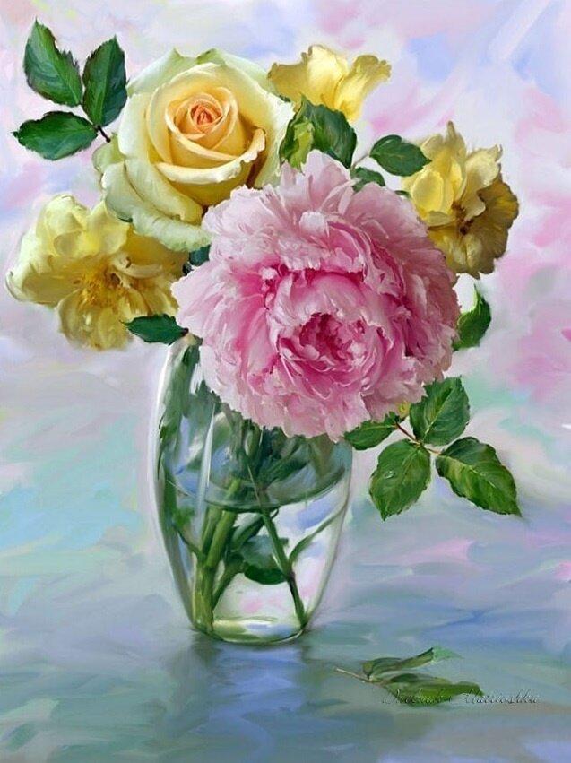 "Картина по номерам Paintboy GX8869 ""Желтая и розовая роза"" 40х50см"
