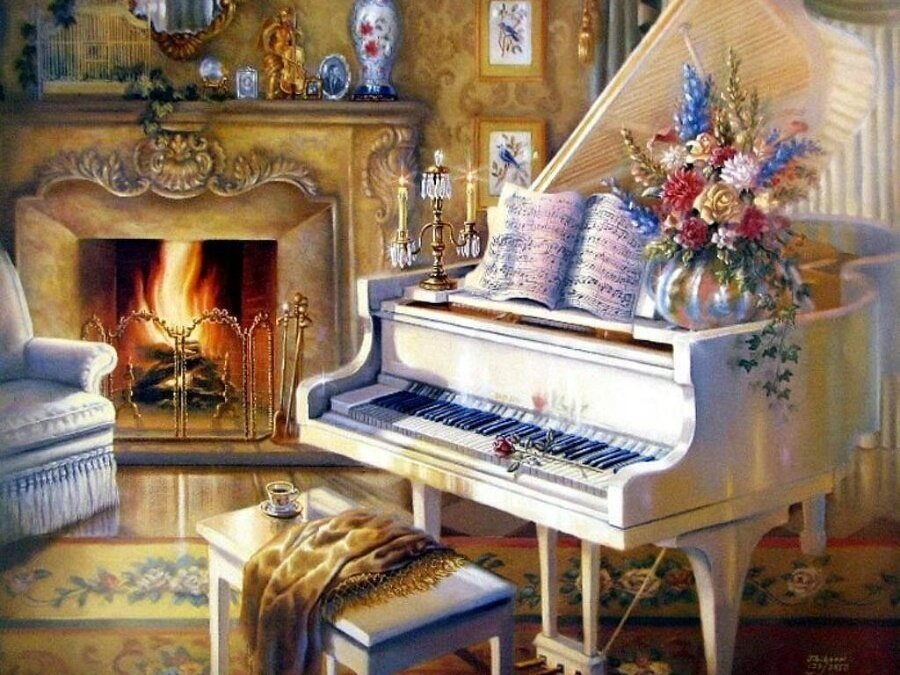 "Картина по номерам Paintboy GX9139 ""Пианино у камина"" 40х50см"