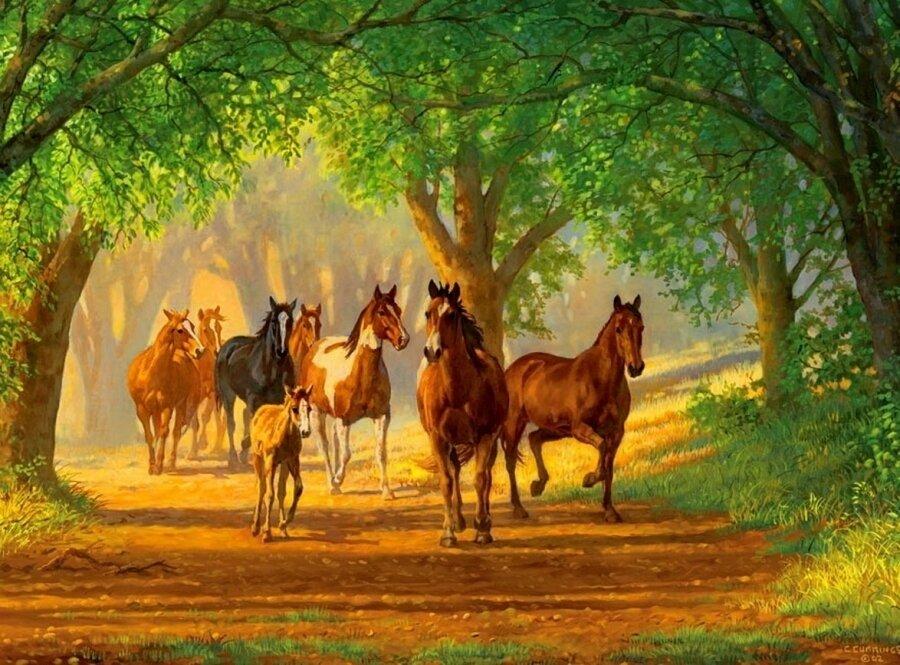 """Картина по номерам Paintboy GX9519 """"Лошади в лесу"""" 40х50см"""