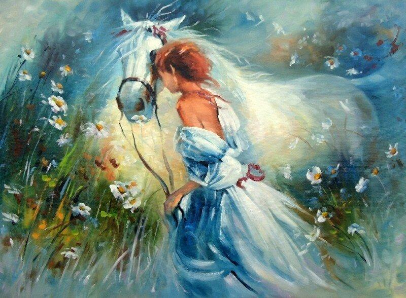 "Картина по номерам Paintboy GX9869 ""Девушка и конь"" 40х50см"