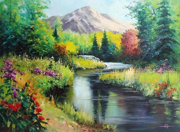 "Картина по номерам Paintboy GX9921 ""Речка у горы"" 40х50см"