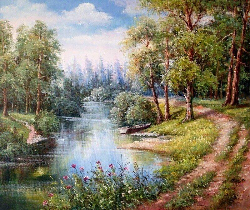 """Картина по номерам Paintboy GX9922 """"Речка в лесу"""" 40х50см"""