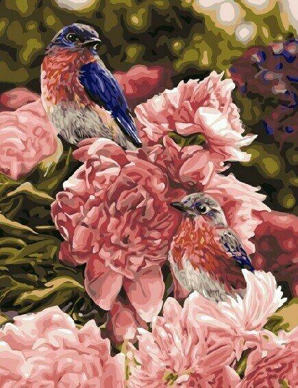 "Картина по номерам Paintboy GX9977 ""Птички на цветах"" 40х50см"