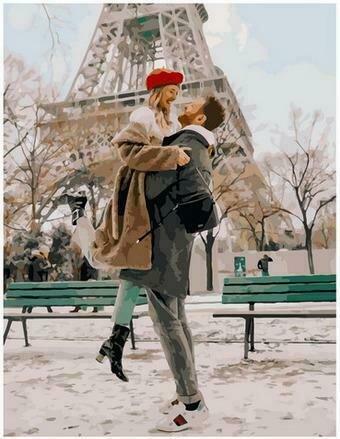 Картина по номерам PK68016 Влюбленные в зимнем Париже 40х50см