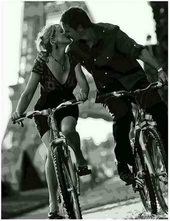 Картина по номерам PK68021 Влюбленные на велосипедах 40х50см