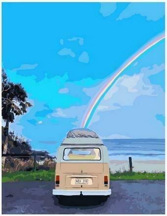 Картина по номерам PK68028 Радужный фургончик 40х50см