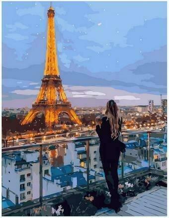Картина по номерам PK68029 Вечерние огни Парижа 40х50см