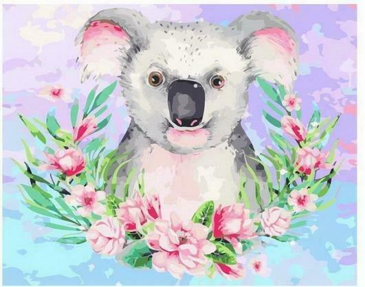 Картина по номерам PK68039 Цветочная коала 40х50см