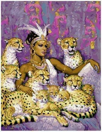 Картина по номерам PK68056 Египетская правительница с леопардами 40х50см