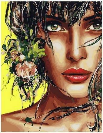Картина по номерам PK68057 Очаровательная брюнетка 40х50см