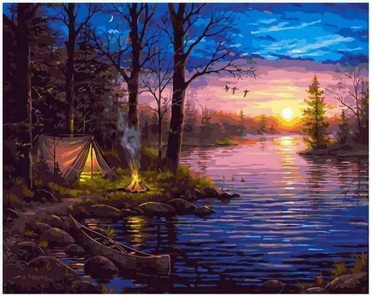 Картина по номерам PK68086 Ночлег у реки 40х50см