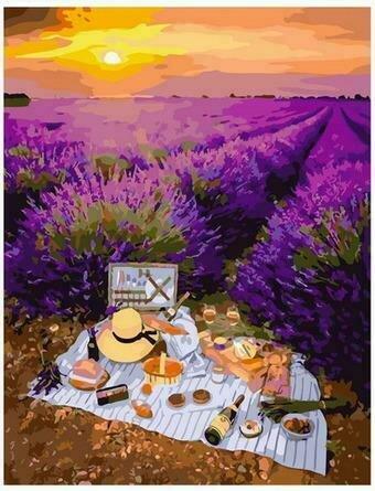 Картина по номерам PK68088 Пикник у полей лаванды 40х50см