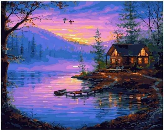 Картина по номерам PK68092 Рыбацкий домик 40х50см