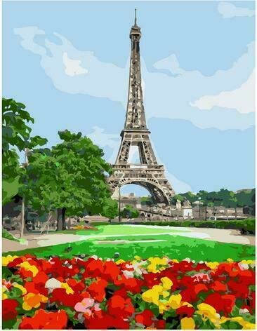 Картина по номерам PK72002 Цветочная поляна перед Эйфелевой башней 40х50см