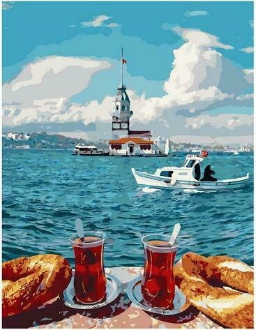 Картина по номерам PK72010 Чаепитие у моря 40х50см