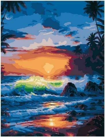 Картина по номерам PK72018 Бушующие волны на закате 40х50см