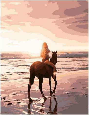 Картина по номерам PK72025 Конная прогулка по пляжу 40х50см