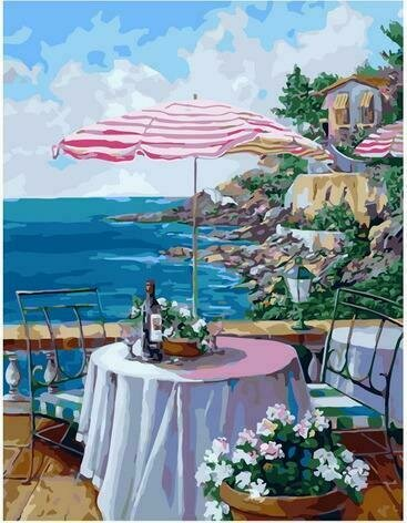 Картина по номерам PK72033 Уютная веранда ресторана 40х50см