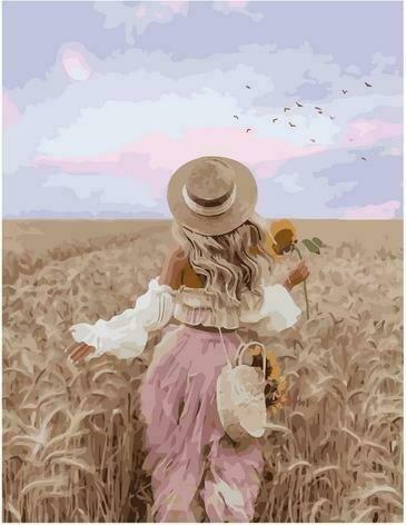 Картина по номерам PK72034 Девушка в соломенной шляпке 40х50см