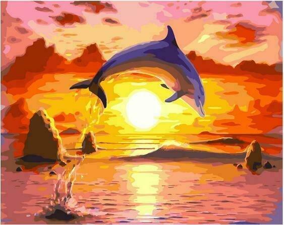 Картина по номерам PK72037 Прыжок дельфина 40х50см