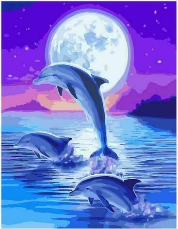 Картина по номерам PK72052 Дельфины под лунным сиянием 40х50см
