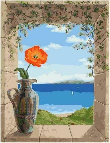 Картина по номерам PK72057 Старинная ваза с маком 40х50см