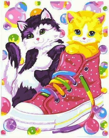 Картина по номерам PKC72070 Котята и кеды 30*40