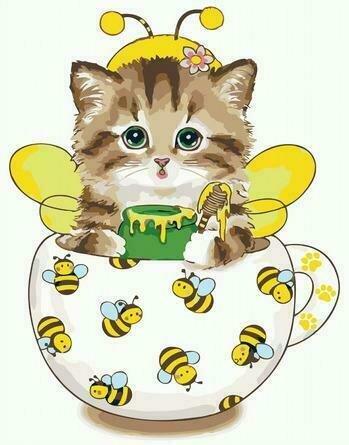 Картина по номерам PKC 72071 Котик-сладкоежка 30*40