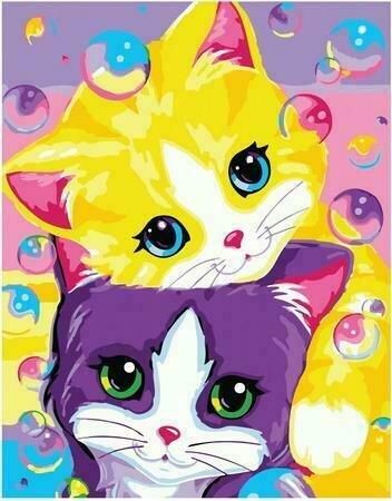 Картина по номерам PKC 72073 Котята и мыльные пузыри 30*40