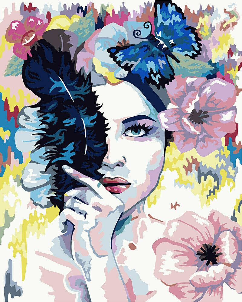 """Картина по номерам """"Девушка с черным пером"""", 40х50см, ФРЕЯ, PNB/R1 №126"""