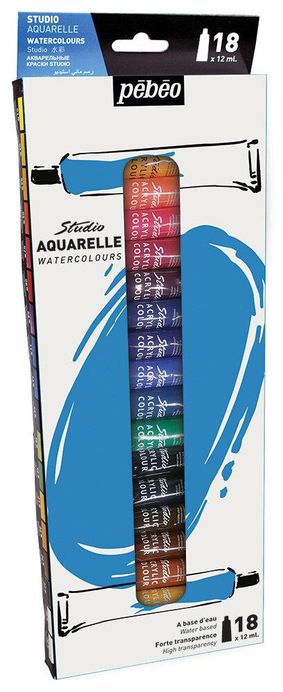 "Краска акварель ""PEBEO"" набор Studio Aquarelle 18 цв. 12 мл"
