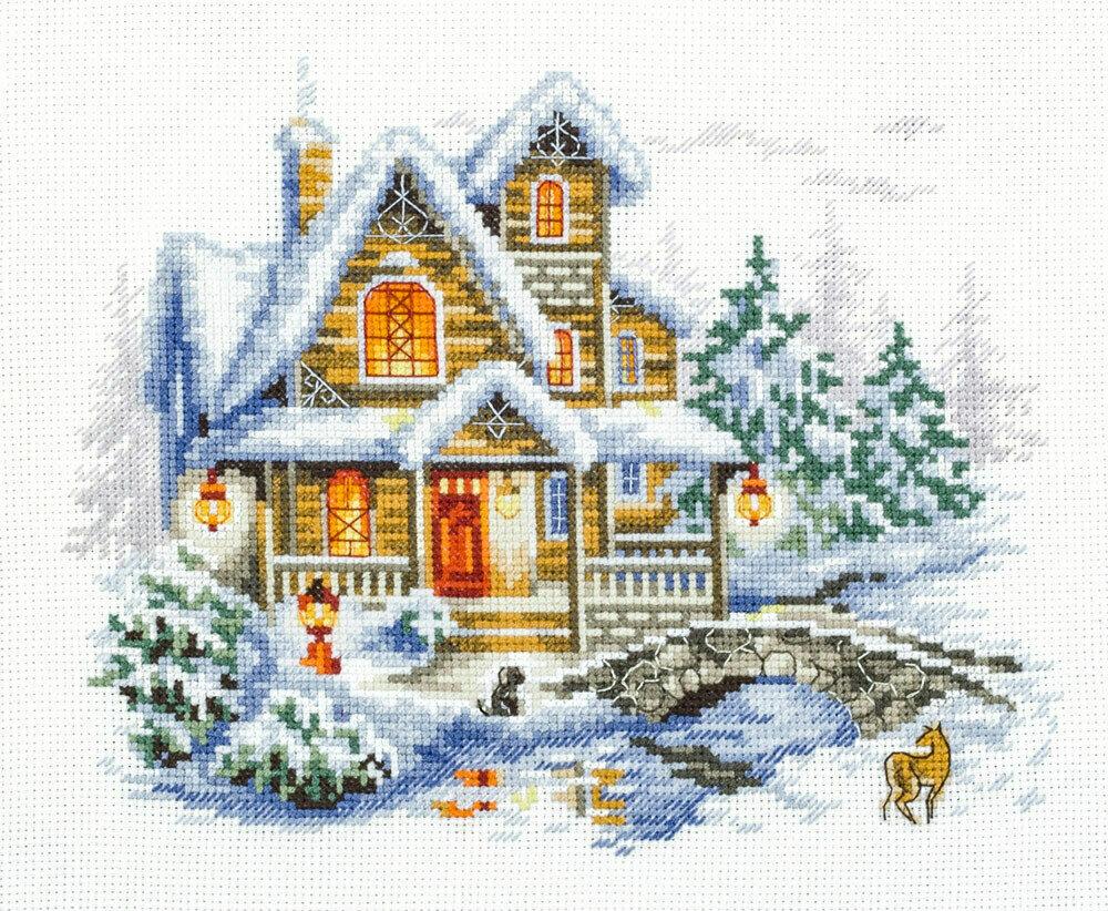 "Набор для вышивания 110-042 ""Зимний коттедж"", 20х17см"