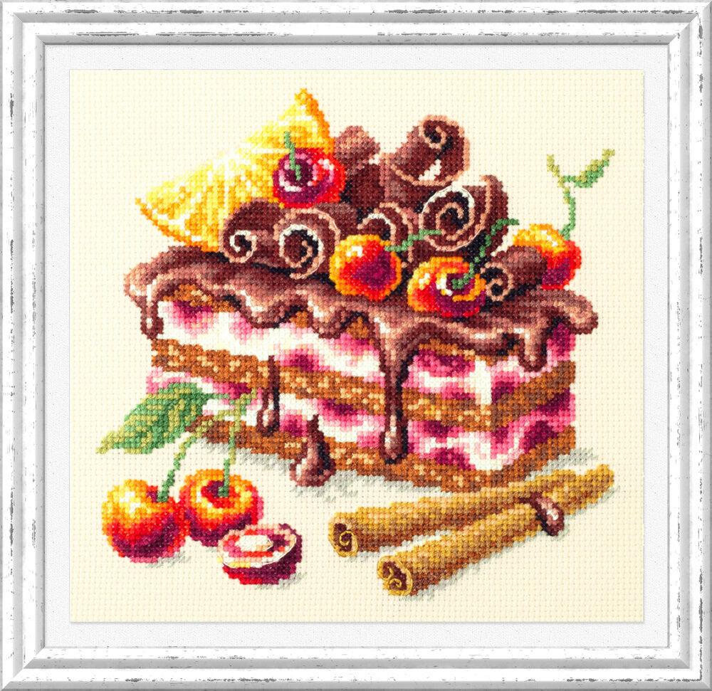 """Набор для вышивания 120-072 """"Вишневый торт"""", 17х17см"""